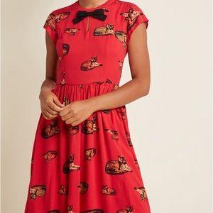 NWOT ModCloth Bow front aline Dress in Crimson Cat